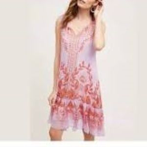 🌸HP🌸Anthro Wisteria lavender boho dress w/coral